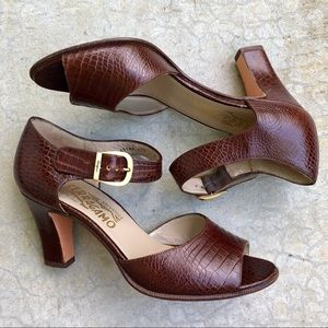 Salvatore Ferragamo brown leather heeled sandals